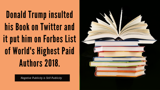 Donald Trump Insulted his Book on Twitter and it put him on Forbes List of World's Highest Paid Authors 2018.
